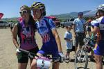 Georgia Gould, right, winner of the pro race at the Beti Bike Bash, poses for a photograph with Dawn Rieder of Colorado Springs, who raced the Bash as her very first mountain bike event. PHOTO BY MARTY CAIVANO