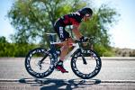 Andrew Myer gets his TT bike up to speed after the start.