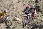The top three Cat1 Women on the first lap down Burn Pile.