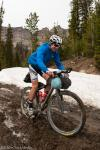 Adam Jensen starts the Togwotee Pass climb in rim deep mud.  At least the climb wasn't covered in snow as is normally the case.