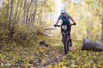 Sarah Rawley takes in the Aspen lined singletrack.
