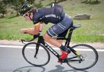 James Oram testing out a new TT saddle from Bontrager.