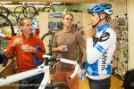 Andy Hampsten, Scot Nicol, and Danny Summerhill talk bike.